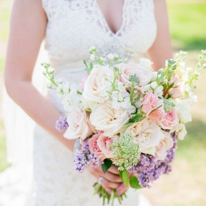 Peach, Pink and Purple Pastel Wedding Bouquet