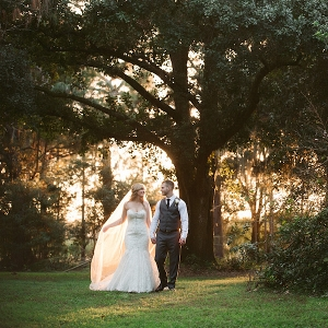 Bride and Groom Outdoor Tampa Bay Wedding Portrait in Woods | Allure Couture Strapless Lace Sweetheart Trumpet Wedding Gown