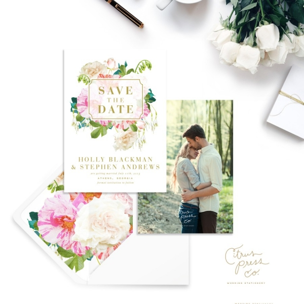 Pink and White Spring Floral Wedding Save-the-Date Invitation Stationery