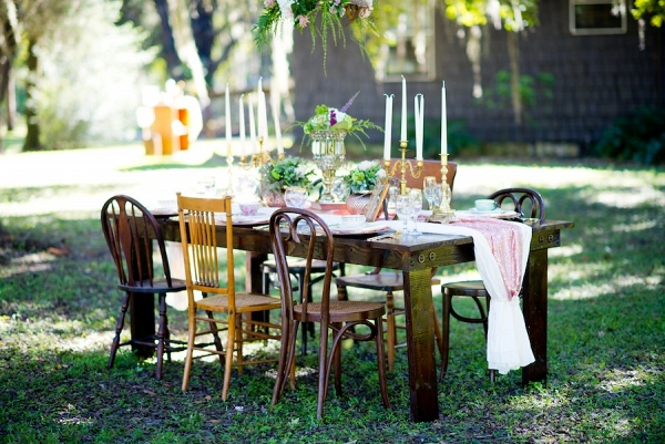 Outdoor Vintage Wedding with Vintage Wooden Tables & Chairs