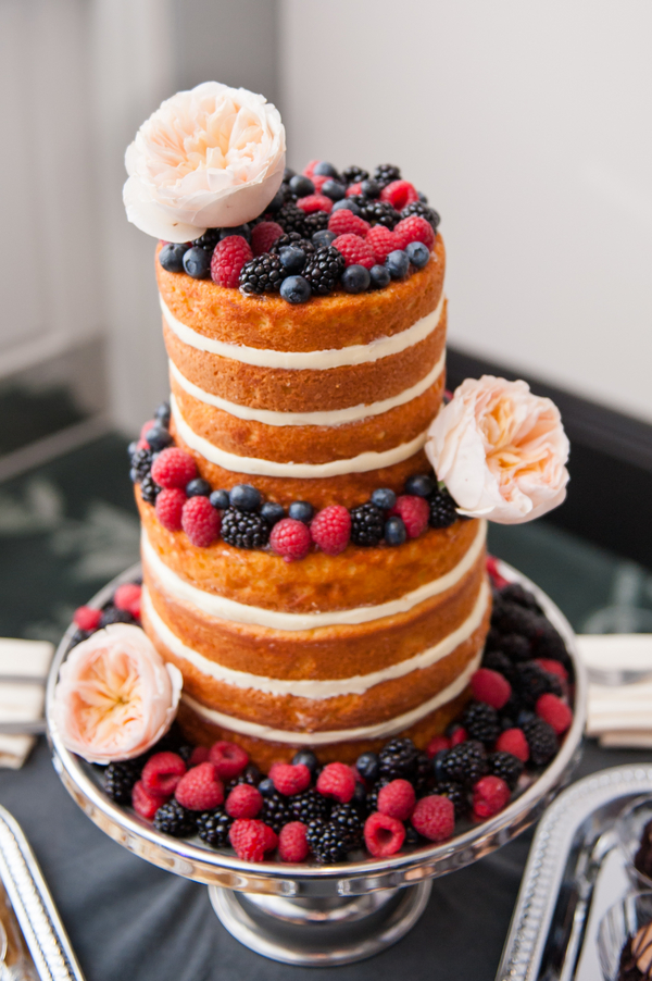 Round Naked Wedding Cake with Fresh Raspberries and Blackberries and Blush Pink Peonies