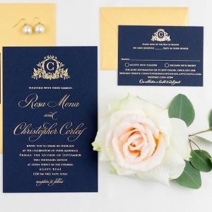 Elegant Navy and Gold Letterpress Wedding Invitation Suite with Custom Monogram Logo