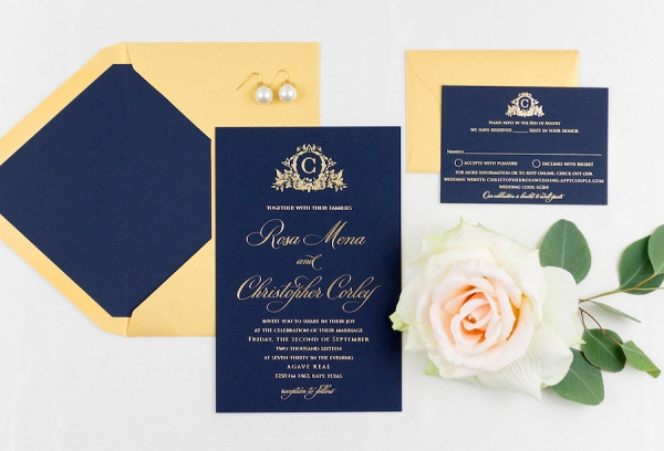 Elegant Navy and Gold Letterpress Wedding Invitation Suite with Custom Monogram Logo
