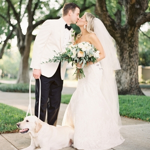 Outdoor, Tampa Wedding Portrait of Bride and Groom with Labrador Dog and Ivory and Green and Peach Bridal Bouquet with Greenery