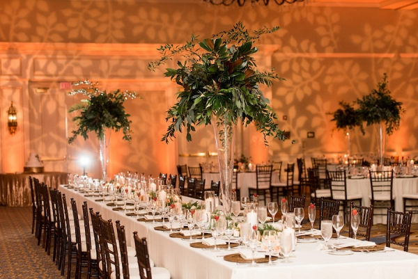 Indoor Ballroom Wedding Reception Decor With Tall Greenery Centerpieces In Glass Vases Bamboo