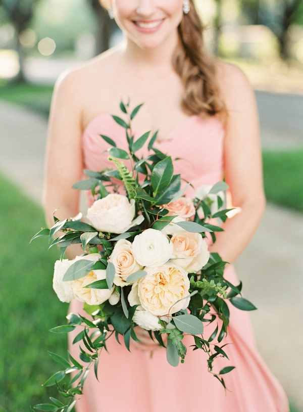 Wedding Bridal Wedding Bouquets with Peach and White Peonies, Roses, and Greenery | Coral Pink Bridesmaids Dresses