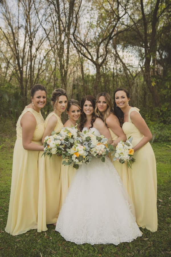 Bridal Party Wedding Portrait with Yellow Bill Levkoff Bridesmaids Dresses and Ivory, Strapless Allure Lace Wedding Dress