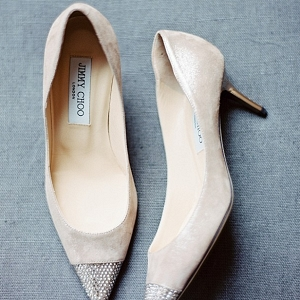 Cream and Bling Jimmy Choo Shoes | Black Tie Vail Wedding
