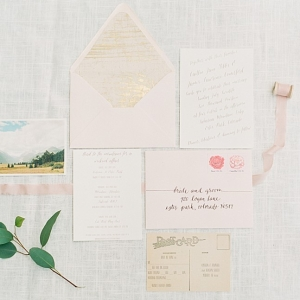 Delicate pink and cream wedding stationery