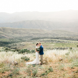 Golden hour desert wedding photo