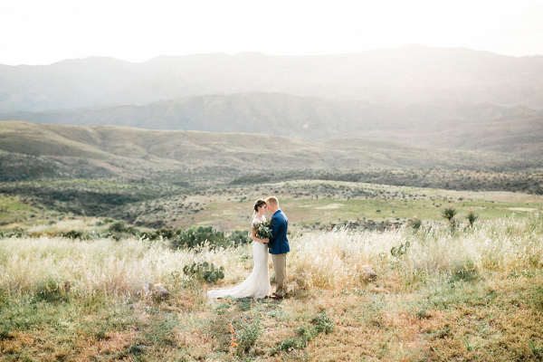 Golden hour desert wedding photo