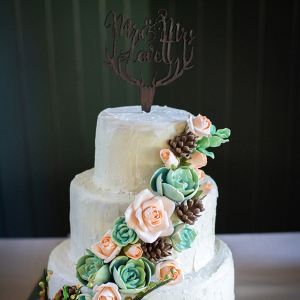 Rustic wedding cake with antler cake topper