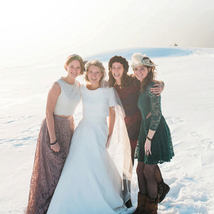 Snowy bridal party