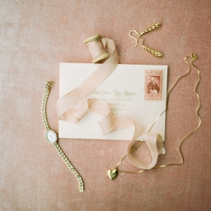 Vintage wedding jewelry and stationery