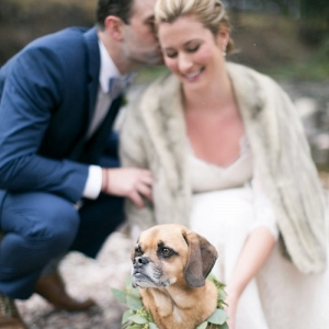 Vail Colorado Bride and Groom with Their Dog