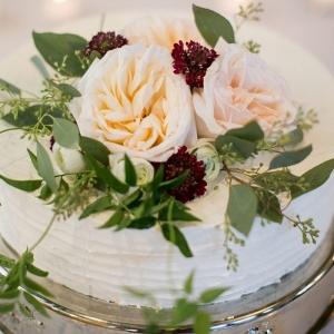 Rustic floral wedding cake in Vail Colorado