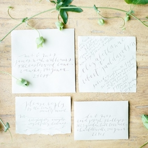 Romantic hand calligraphy wedding invitations