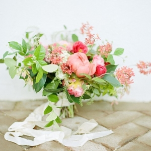 Gorgeous pink and green organic bouquet