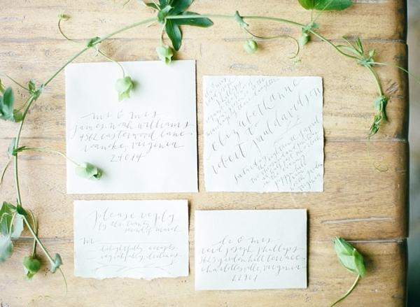 Romantic hand calligraphy wedding invitations
