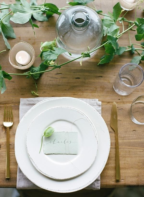 Organic vineyard inspired table setting