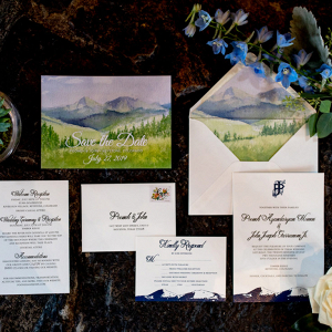 Mountain inspired wedding invitations and envelope