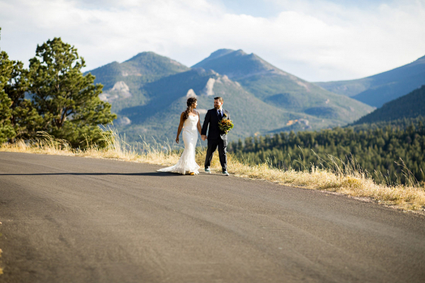 Fall colored mountain wedding in Colorado