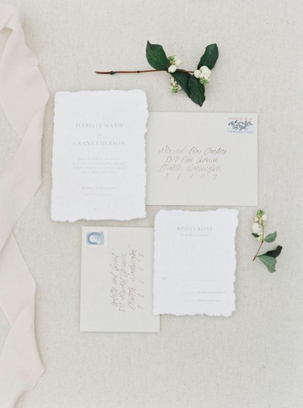 Raw edge letterpress wedding invitation