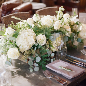 Wood box wedding centerpiece with white florals