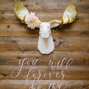 Moose head with glitter gold antlers and Wooden Calligraphy Wedding sign
