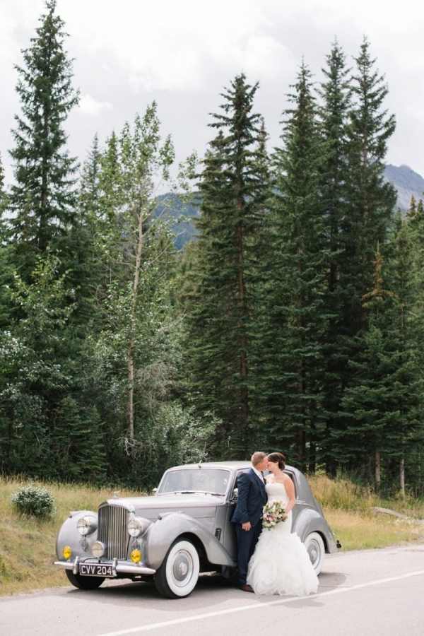 Vintage Rolls Royce | Canmore Mountain Wedding at Silvertip Resort