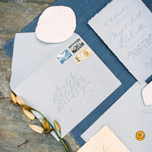 Blue calligraphy wedding invitation