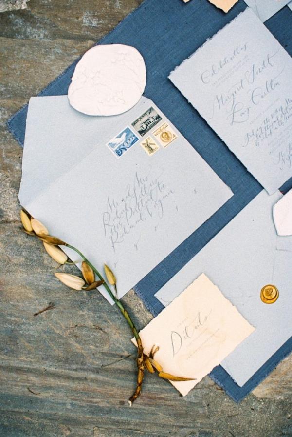 Blue calligraphy wedding invitation