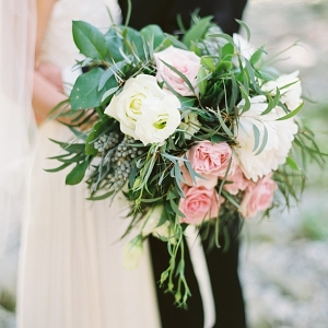 Classic and romantic pink and white wedding bouquet