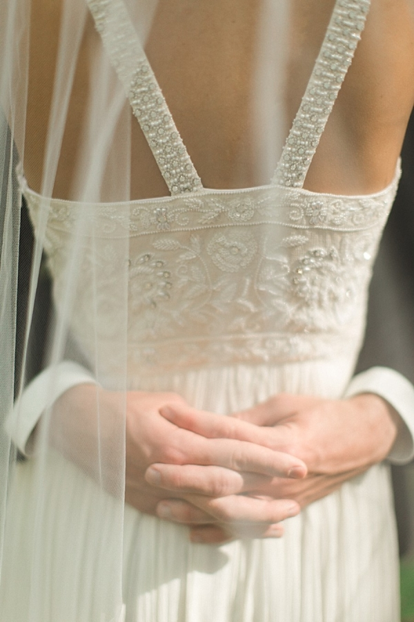 Back of wedding gown with beaded details