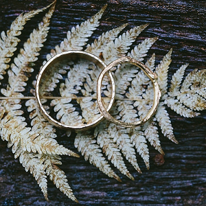 Gold wedding bands on Mountainside Bride