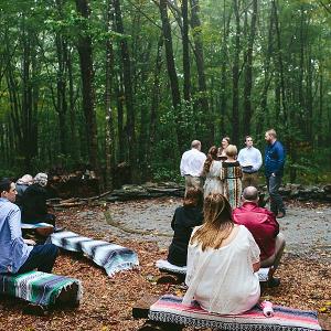 Woodland ceremony on Mountainside Bride