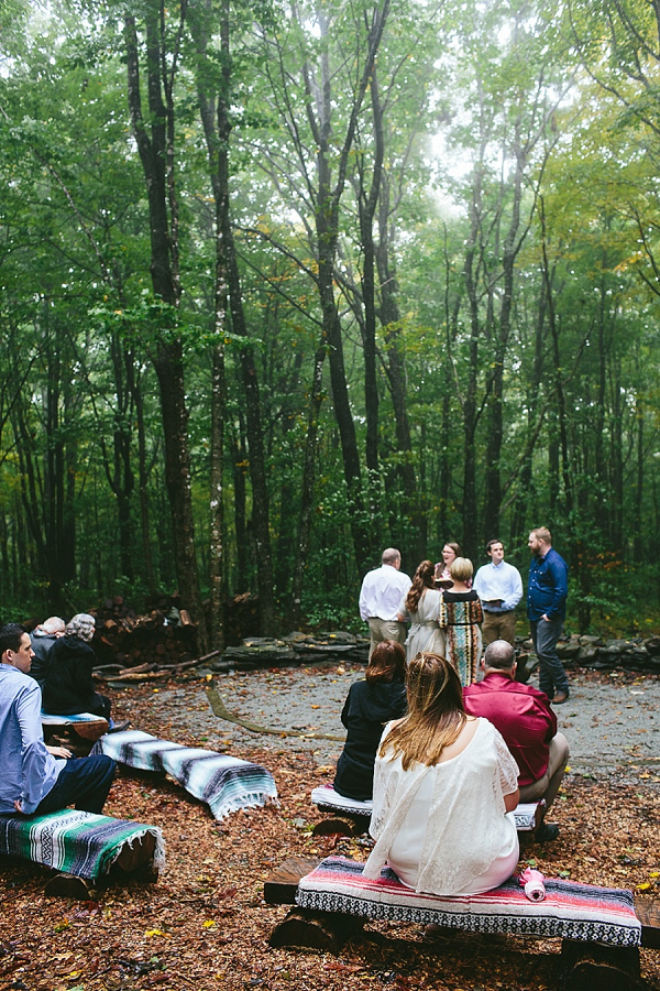 Woodland ceremony on Mountainside Bride