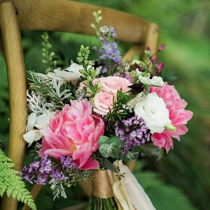 bright pink bouquet on Mountainside Bride