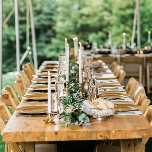 Farm table outdoor reception Mountainside Bride