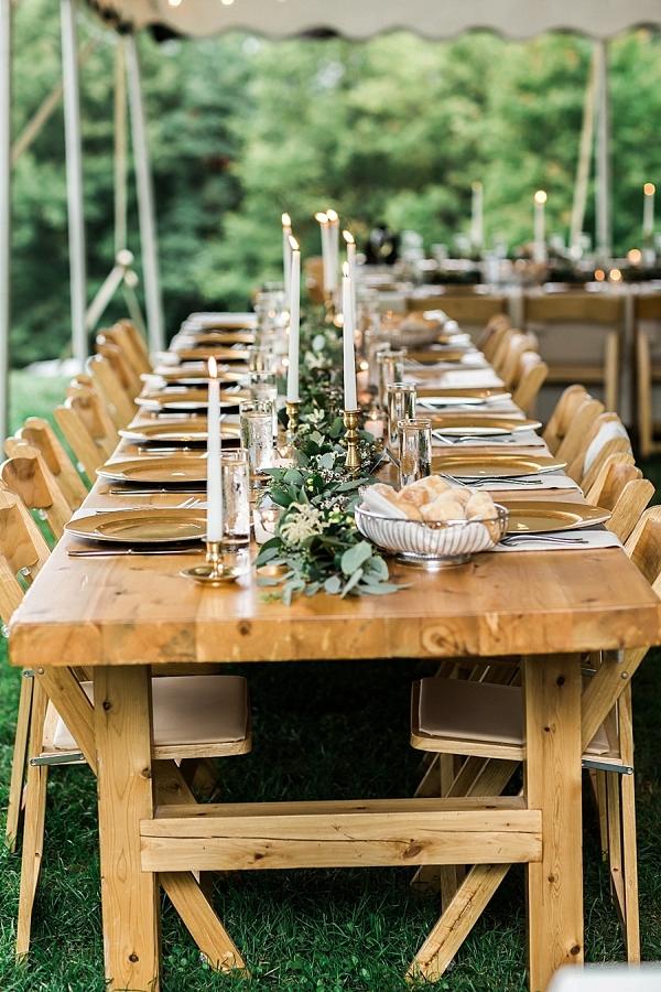 Farm table outdoor reception Mountainside Bride