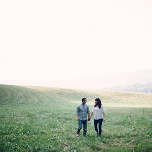 Misty mountain engagement session