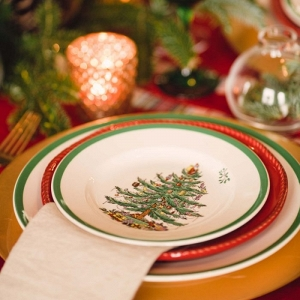 Christmas tree plates and holiday napkins