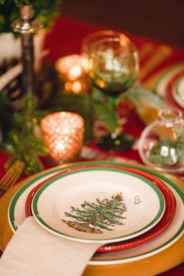 Christmas tree plates and holiday napkins