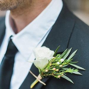 white rose boutonniere | California Winter Wedding Inspiration