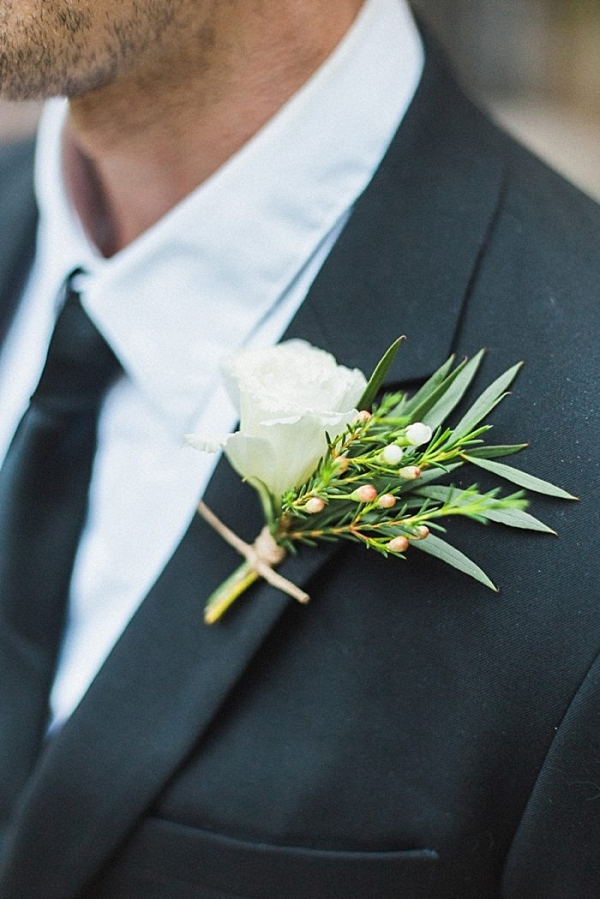white rose boutonniere | California Winter Wedding Inspiration