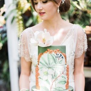 Stunning Hand drawn botanical wedding cake