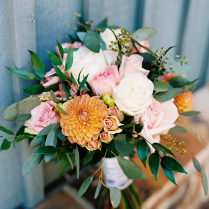 Orange and blush bridal bouquet