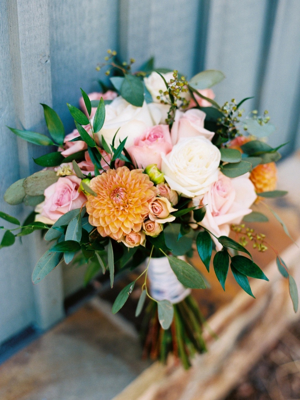 Orange and blush bridal bouquet