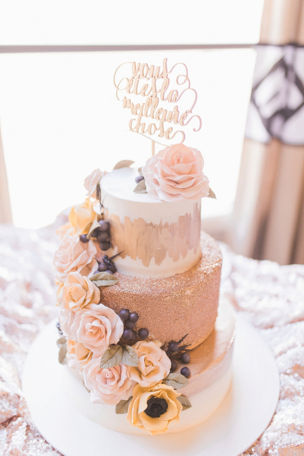 rose gold and cream wedding cake pretty pink summer wedding aisle society 19267