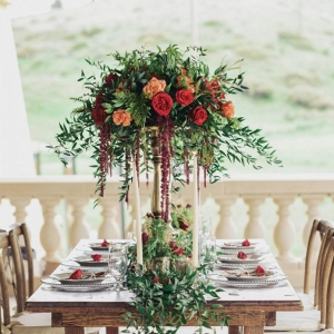 Gorgeous rustic tablescape with rose and greenery floral chandelier